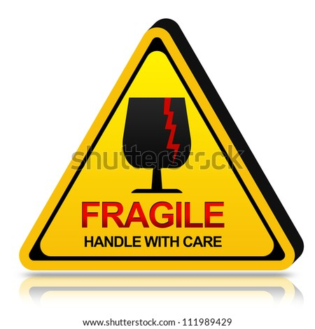 3d Yellow Triangle Fragile Handle With Care Sign Isolated on White Background