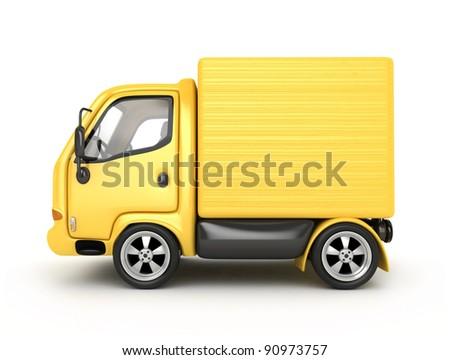 3D Yellow Van isolated - stock photo