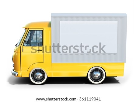 3d yellow vintage van on white background - stock photo