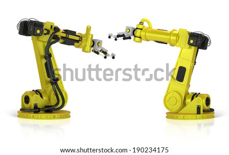 3d yellow welding robot isolated on white - stock photo