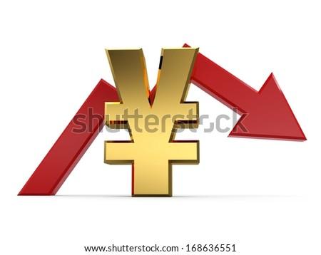 3D Yen falling graph. 3D arrow diagram moving down over yen - stock photo