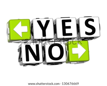 3D Yes No Button Click Here Block Text over white background