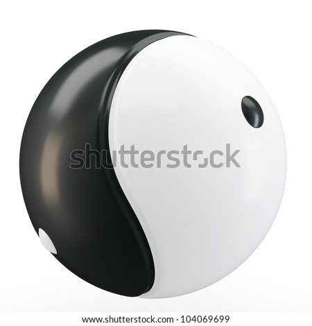 3d Ying yang symbol sphere on white background - stock photo
