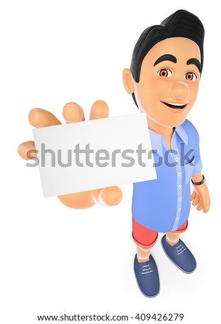 3d young people. Man in shorts with a blank card. Isolated white background. - stock photo