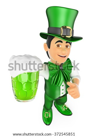 3d young people. St Patrick day man with a beer. Isolated white background.