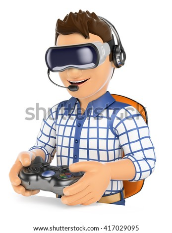 3d young people. Young gamer playing with virtual reality glasses and gamepad. VR. Isolated white background. - stock photo