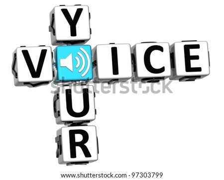 3D Your Voice Crossword on white background - stock photo