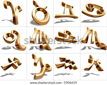 3D Zodiac signs, gold metal, isolated on white, s