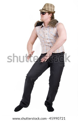 dancing man  in checkered shirt
