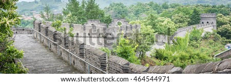 Dandong, China - June 23, 2016: Tourists come to visit the great wall of China in Dandong near the border of China and North Korea.