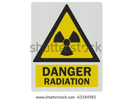 'Danger - radiation' photo realistic sign, isolated on white