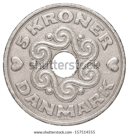 5 danish krone coin isolated on white background - set - stock photo