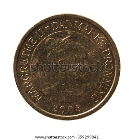 10 Danish krone (DKK) coin currency of Denmark over black background - stock photo