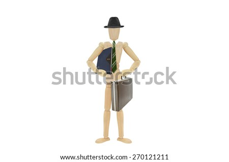 2015 Datebook Briefcase Green Striped Tie Businessman Wood Mannequin isolated on white background - stock photo