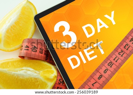 3 day diet on tablet.  - stock photo