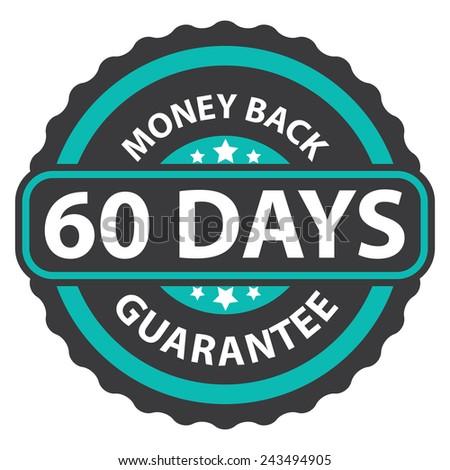 60 days money back guarantee on blue vintage, retro sticker, badge, icon, stamp isolated on white  - stock photo