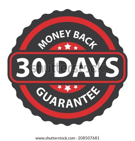 30 Days Money Back Guarantee on Red Vintage, Retro Sticker, Badge, Icon, Stamp Isolated on White - stock photo