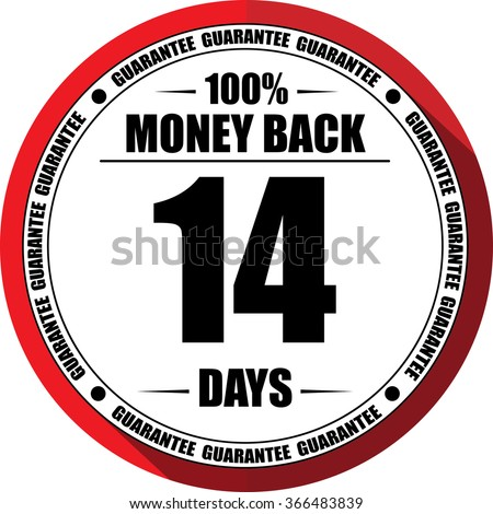 14 days Money back guarantee red, Button, label and sign. - stock photo
