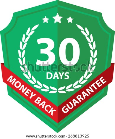 30 Days Money Back Guaranteed Label And Sticker With Green Badge Sign, Isolated on White Background. - stock photo