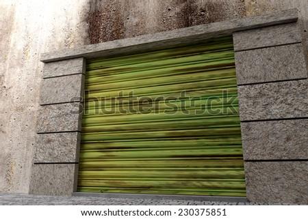 3de rendering of a garage exit door - stock photo