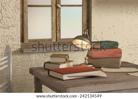 3de rendering of some old books and a lamp on a dirty room