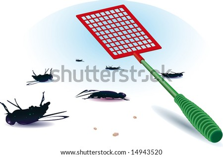 dead fly. flattened out. tool.  vector illustration. - stock photo