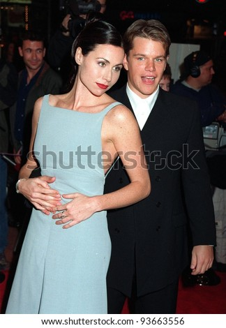 "02DEC97:  Actress MINNIE DRIVER & actor MATT DAMON at the premiere of their new movie, ""Good Will Hunting.""  The couple met while making the movie and have since become lovers. - stock photo"