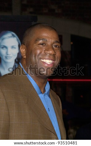 "16DEC99: Former basketball star EARVIN MAGIC JOHNSON at the world premiere, in Los Angeles, of Oliver Stone's ""Any Given Sunday"" which stars Al Pacino & Cameron Diaz.  Paul Smith / Featureflash - stock photo"