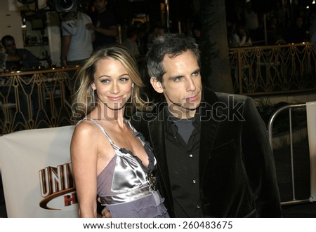 16 December 2004 - Hollywood, California - Ben Stiller and Christine Taylor. The premiere of 'Meet The Fockers' at the Universal Amphitheatre Universal Studios in Hollywood. - stock photo