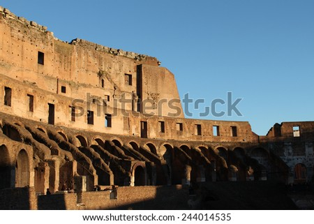 26 December 2014 Rome, Italy - Colosseum, elliptical Flavian amphitheatre largest in Roman Empire built in 80AD by Emperor Vespasian - stock photo