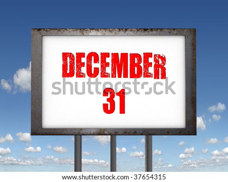 31 december text - stock photo
