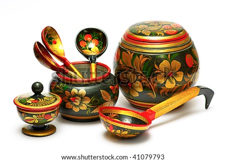 decorated wooden hand made tableware, - stock photo