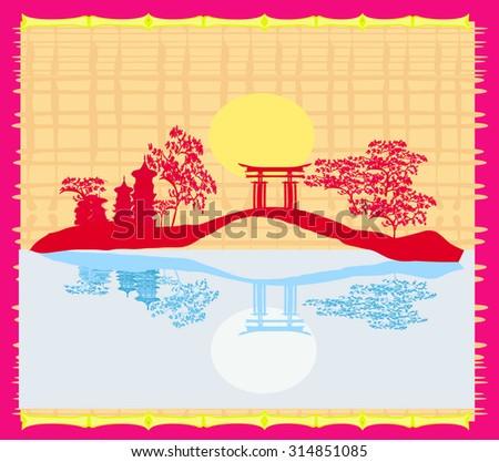 Decorative Chinese landscape card  - stock photo