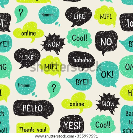 Decorative elements and embellishments. Speech and thought bubbles. Seamless pattern with hand drawn speech and thought bubbles. Doodle design with short messages. - stock photo