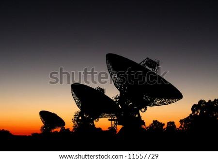 3 Deep Space Radio Telescopes - stock photo
