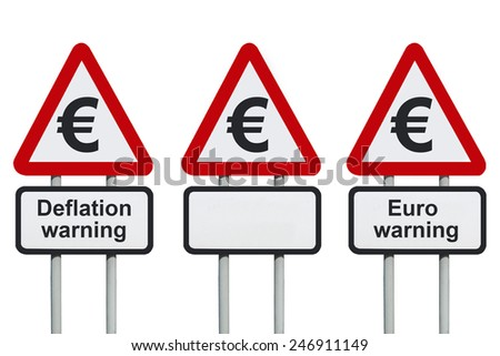 Deflation warning, Euro symbol on a road sign                              - stock photo