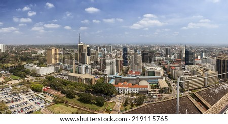 180 degree aerial panorama of Nairobi, Kenya - stock photo