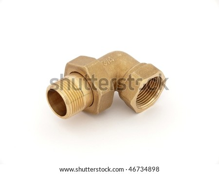 90degree copper elbow isolated on white