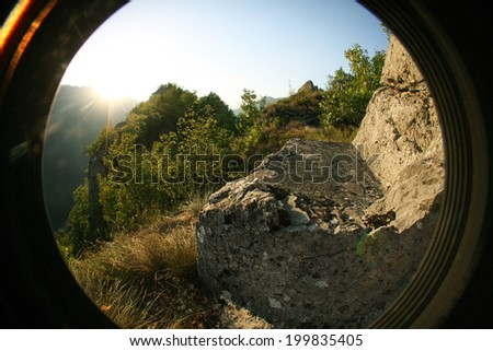 180-degree fish-eye capture of nature, with sunlight - stock photo
