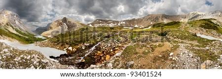 360 degree, Hike up to Harvey Pass from Bourgeau Lake, Near Sunshine Village Ski Hill, Banff National Park, Alberta, Canada - stock photo