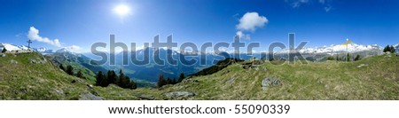360 degree panorama from Riederhorn, Riederalp, Wallis, Switzerland - stock photo