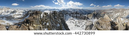 360 degree panorama from the summit of Mount Goode in the Sierra Nevada of California - stock photo