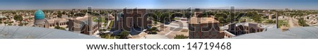 360-degree panorama of ancient El-Registan Square, central square of city Samarqand, Uzbekistan