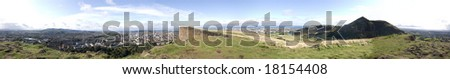 360 degree panorama of Edinburgh and Arthur's Seat from Salisbury Crags - stock photo