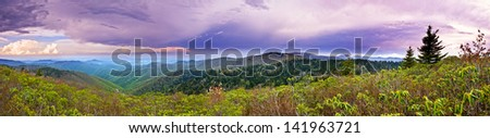 180 degree panorama of mountains in north carolina and thunderstorms - stock photo