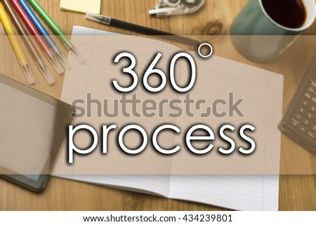 360 degree process - business concept with text - horizontal image - stock photo