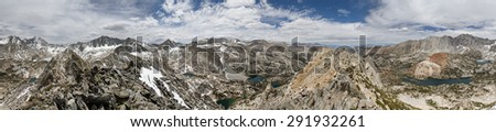 360 degree Sierra Nevada Mountain panorama from Hurd Peak near Bishop California - stock photo