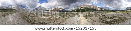 360 degree view Athabasca Glacier and Columbia Ice Fields, Banff National Park, Alberta, Canada Located about an 1-1/2 hour drive north of Lake Louise. Glacier was near this point in the year 2000.  - stock photo