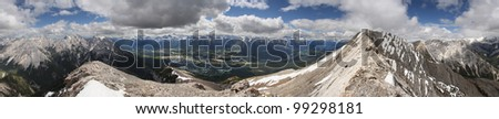 360 degree view from the Summit of Mount Lady McDonald, over looking Canmore, Alberta, Canada - stock photo