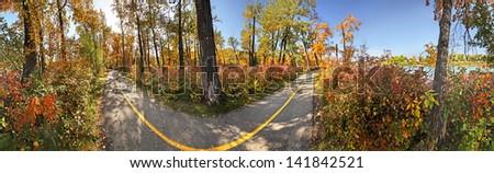 360 degree view of a bike path during Autumn, Calgary, Alberta, Canada. - stock photo